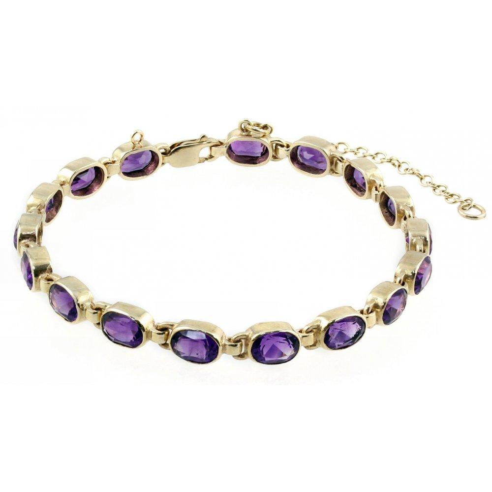 9ct Yellow Gold Oval Amethyst Rubover Bracelet Jewellery