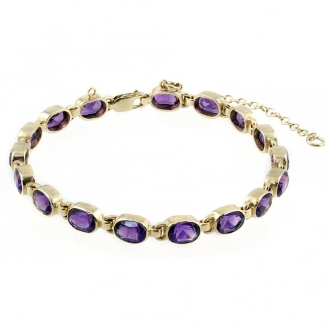 9ct yellow gold oval amethyst rubover bracelet.