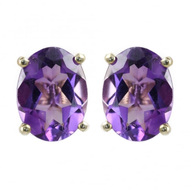 9ct yellow gold oval amethyst stud earrings.