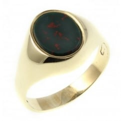 9ct yellow gold oval bloodstone signet ring.