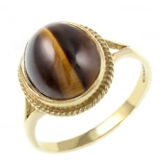 9ct yellow gold oval cabachon tigers eye ring.