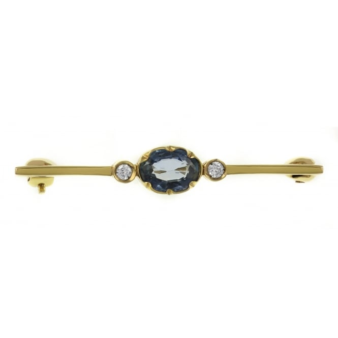 9ct yellow gold oval ceylon sapphire & diamond bar brooch.