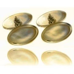 9ct yellow gold oval extra cufflinks with oval rim.
