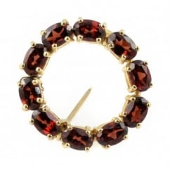 9ct yellow gold oval garnet round brooch with open middle