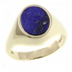 9ct yellow gold oval lapis rubover signet ring.