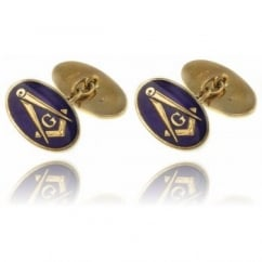 9ct yellow gold oval masonic chain link cufflinks.