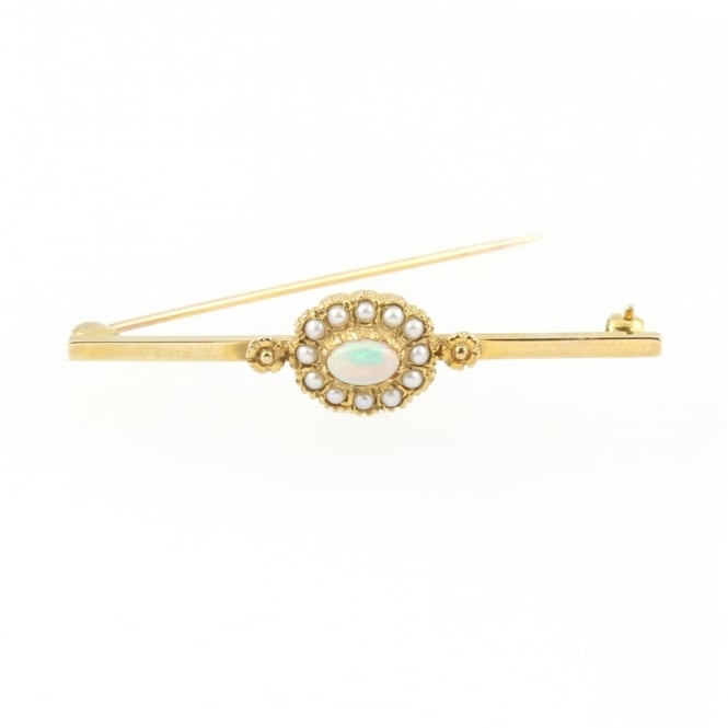 9ct yellow gold oval opal & cultured pearl cluster bar brooch