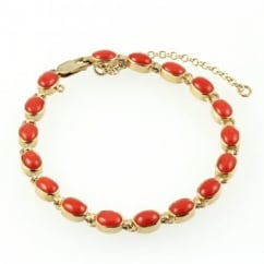 9ct yellow gold oval red coral bracelet