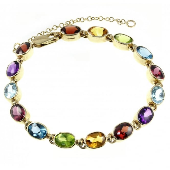9ct Yellow Gold Oval Rubover Multi Gemstone Bracelet