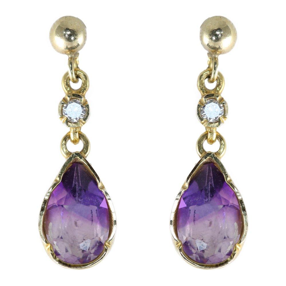 9ct Yellow Gold Pear Shape Amethyst Diamond Drop Earrings