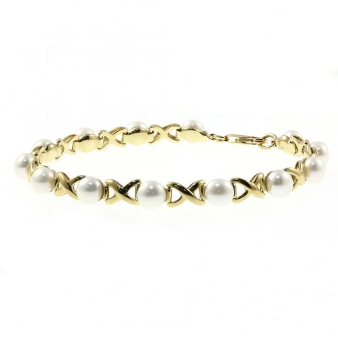 Matt Aminoff Pearls 9ct yellow gold pearl gold crossover design bracelet.