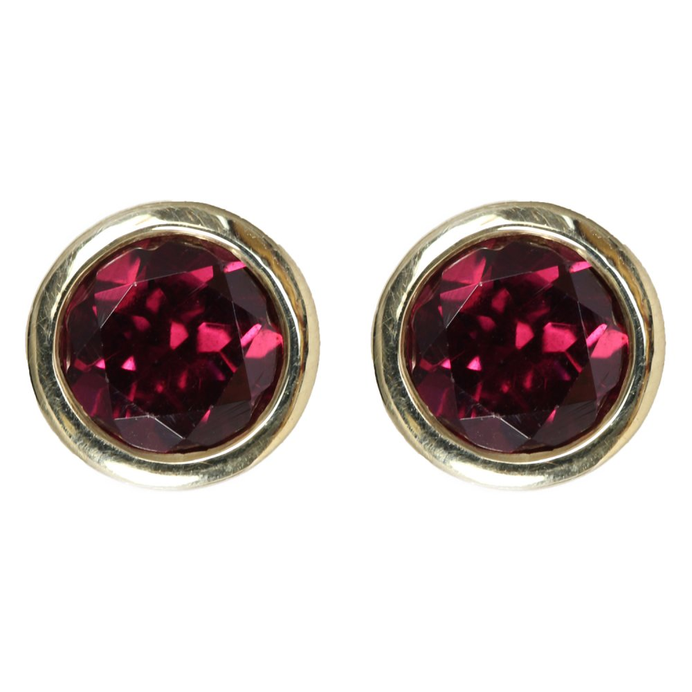 9ct Yellow Gold Round Garnet Rubover Stud Earrings