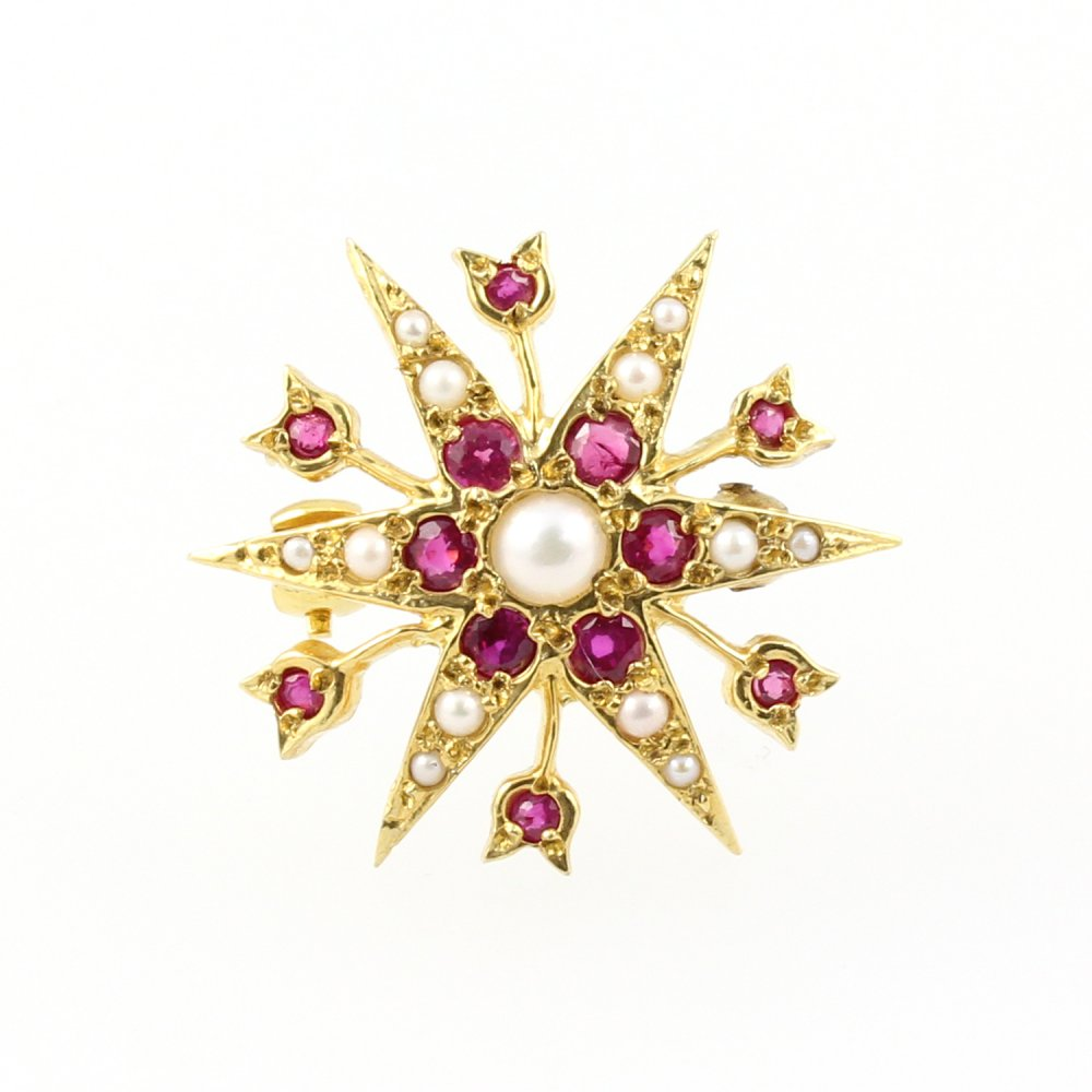 9ct Yellow Gold Ruby Diamond Pearl Star Shaped