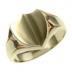 9ct yellow gold shield shaped heavy signet ring.
