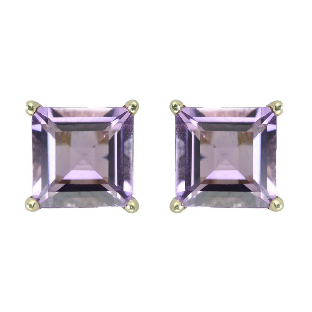 9ct Yellow Gold Square Amethyst Stud Earrings