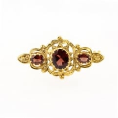 9ct yellow gold victorian style oval garnet 3 stone brooch