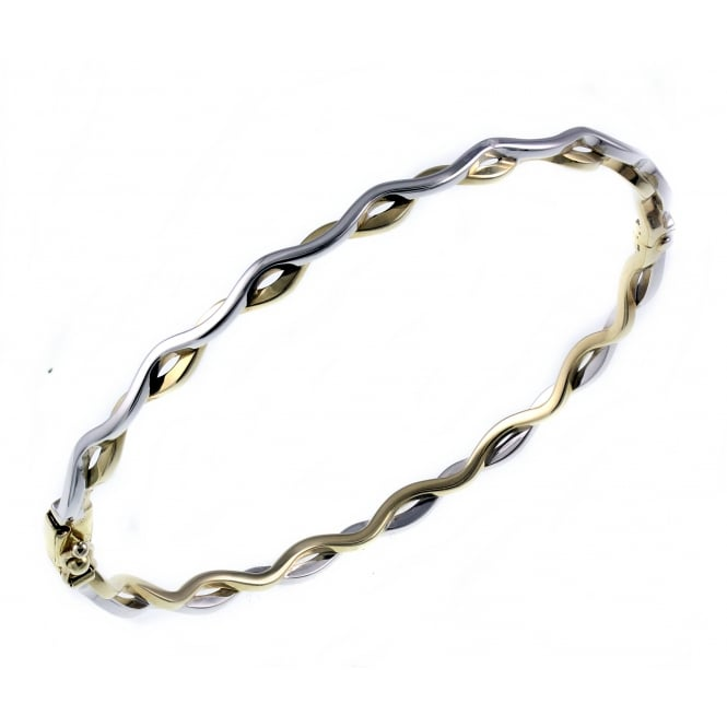 9ct yellow & white gold solid 2 row twist bangle.