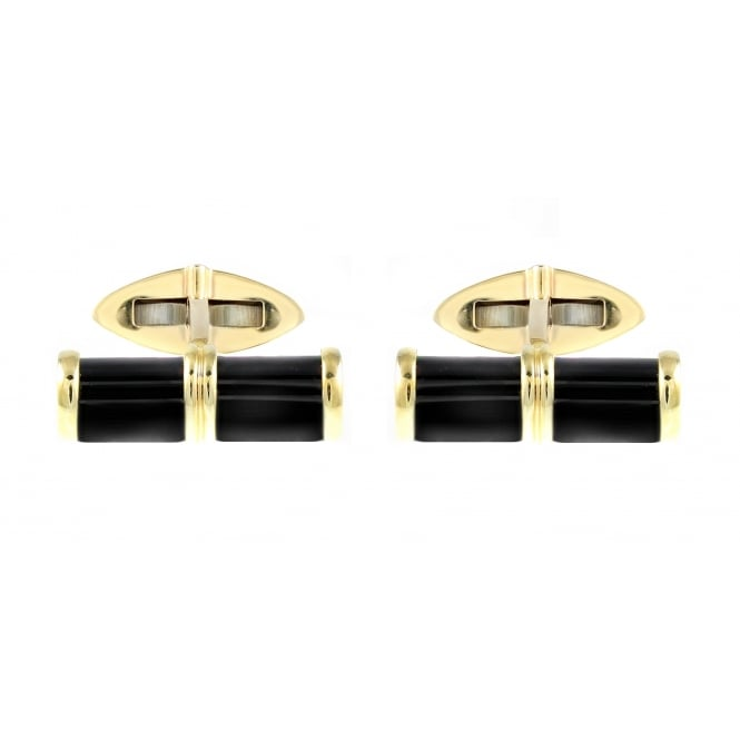 9ct yellw gold black onyx bar design cufflinks.