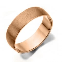 18ct rose gold 6mm court satin wedding band.
