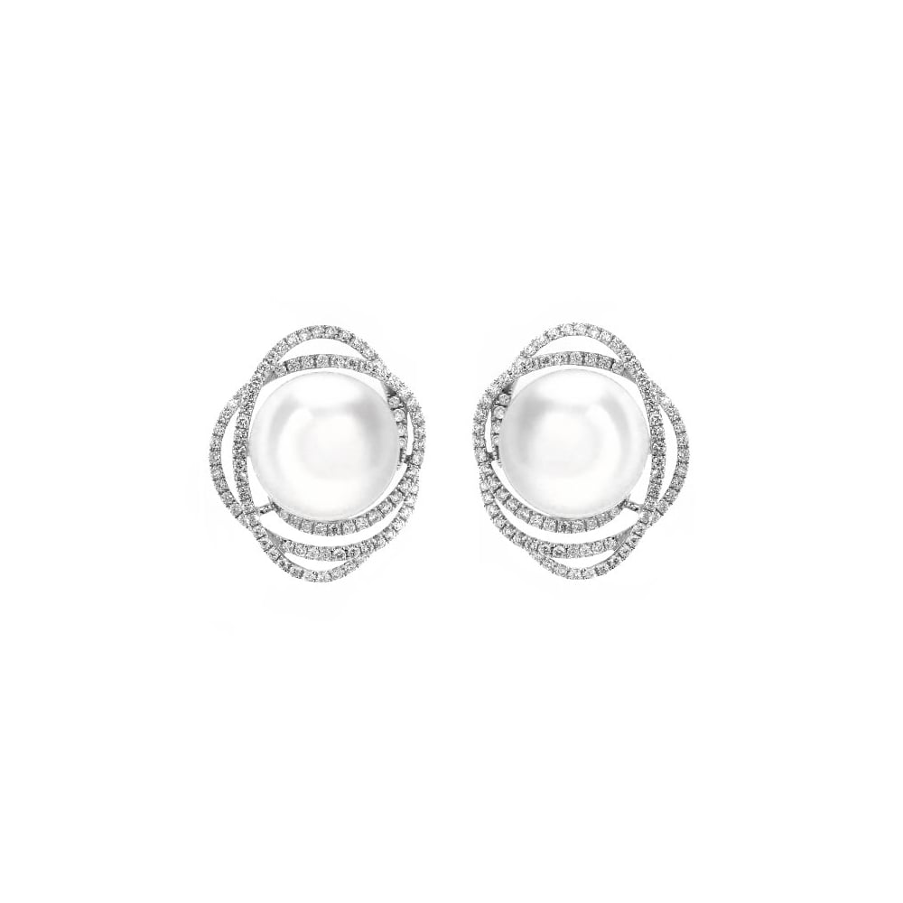 18ct White Gold 10mm South Sea Pearl 0 67ct Diamond Earrings