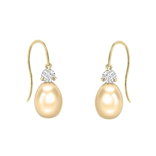Matt Aminoff Pearls 18ct yellow gold 13mm South Sea pearl & 0.24ct diamond earrings
