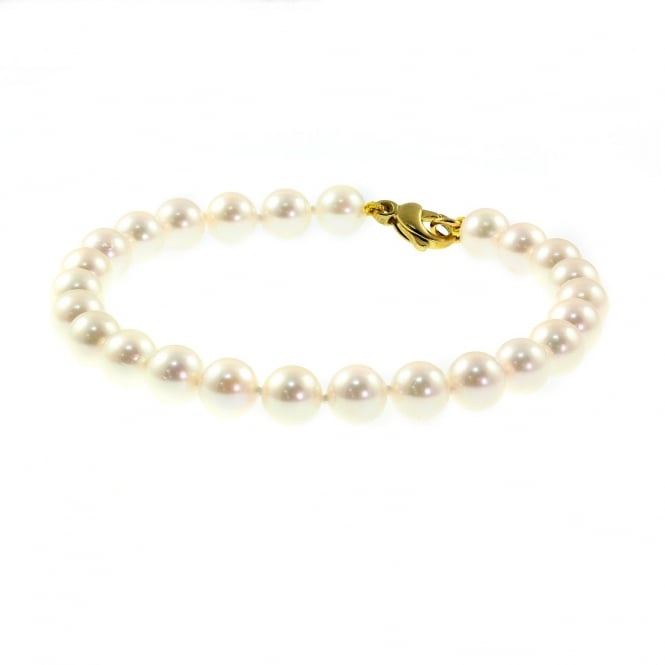 Matt Aminoff Pearls 9ct yellow gold 6mm x 6.5mm akoya pearl bracelet.