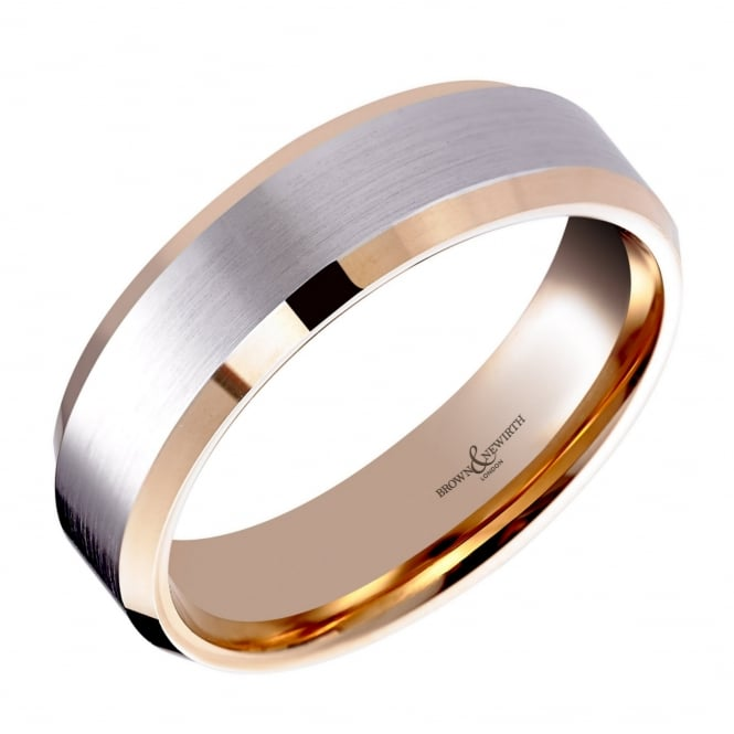 Brown & Newirth Palladium & 18ct rose gold 6.00mm court wedding band.