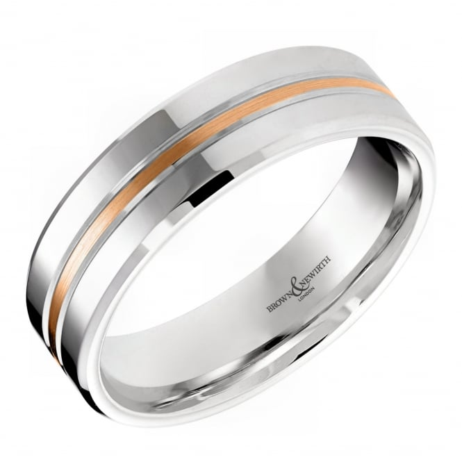 Brown & Newirth Palladium & 18ct rose gold 6.00mm wedding band.