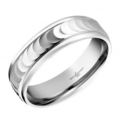Palladium 6.00mm water silk finish wedding band.