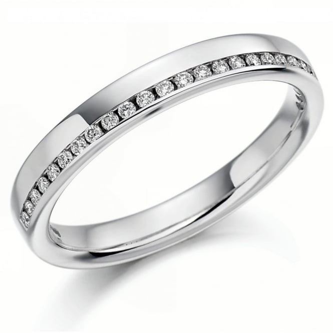 The Raphael Collection Platinum 0.12ct round brill diamond offset half eternity ring.
