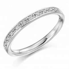 Platinum 0.15ct round brilliant cut diamond half eternity ring.