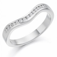 Platinum 0.16ct round diamond shape-to-fit half eternity ring.