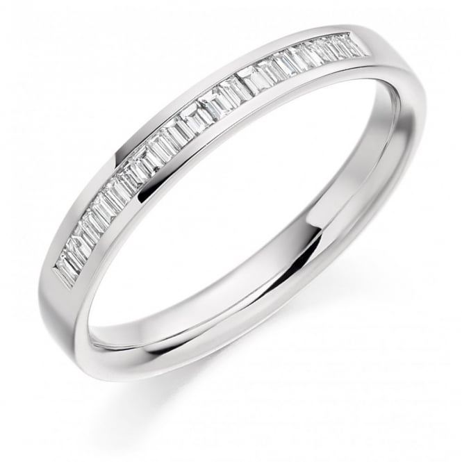 The Raphael Collection Platinum 0.20ct baguette cut diamond half eternity ring.