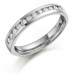 Platinum 0.20ct round brilliant diamond channel eternity ring.