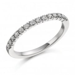Platinum 0.23ct round brilliant cut diamond half eternity ring.