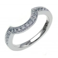 Platinum 0.23ct round brilliant cut diamond pave shaped band.
