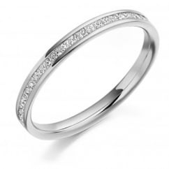 Platinum 0.25ct princess cut diamond half eternity ring.