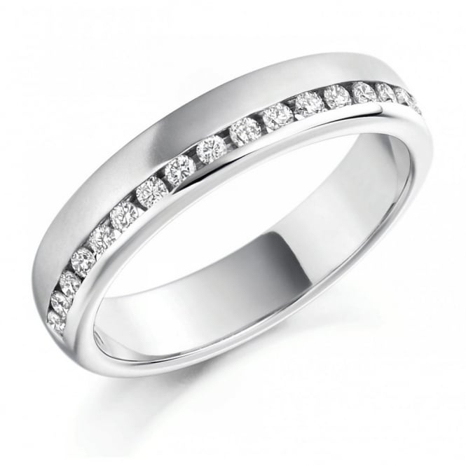 The Raphael Collection Platinum 0.25ct round brill. diamond offset half eternity ring.