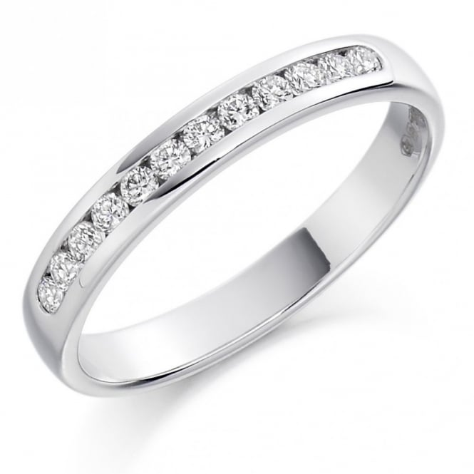 The Raphael Collection Platinum 0.25ct round brilliant cut diamond half eternity ring.