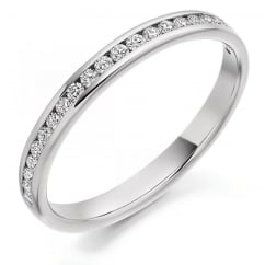 Platinum 0.25ct round brilliant cut half eternity diamond ring.
