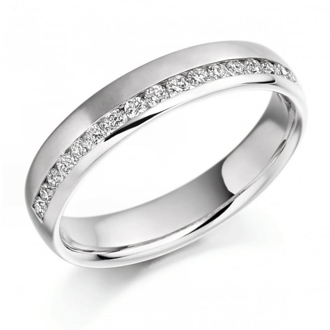 The Raphael Collection Platinum 0.26ct round brill diamond offset thalf eternity ring.