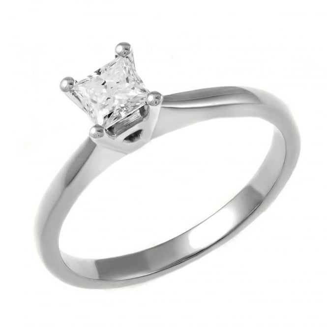 Platinum 0.27ct E VS2 GIA princess cut diamond solitaire ring.