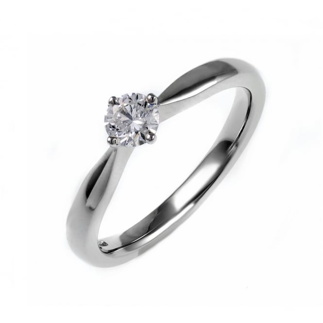 Platinum 0.27ct round brilliant cut diamond solitaire ring.