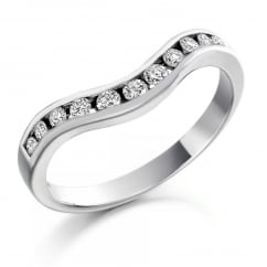 Platinum 0.27ct round diamond shape-to-fit half eternity ring.