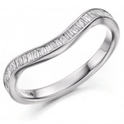 Platinum 0.30ct baguette diamond shape-to-fit eternity ring.