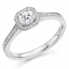 Platinum 0.30ct F VS1 IGI round brilliant diamond halo ring.