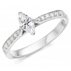 Platinum 0.30ct F VS2 IGI marquise diamond solitaire ring.