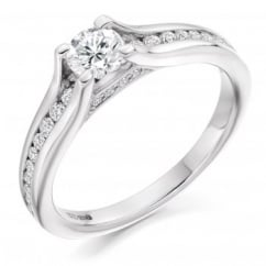 Platinum 0.30ct H SI2 IGI round brill diamond solitaire ring.