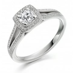 Platinum 0.30ct H VS2 IGI round cut diamond solitaire ring
