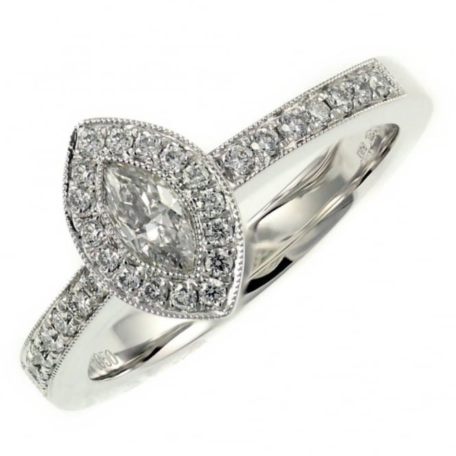 Platinum 0.30ct marquise 0.26ct round diamond art deco ring.